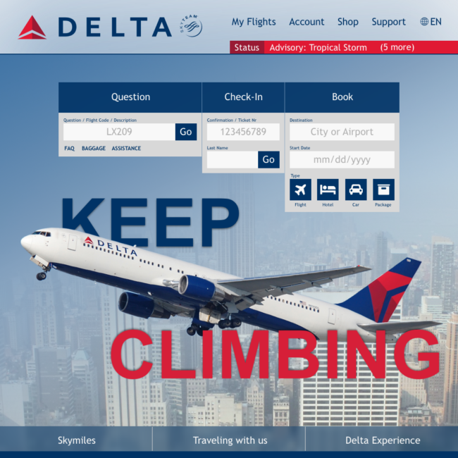 Image for UI/UX challenge showing a redesign of Delta's website